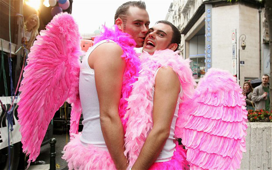 gay, pink angels