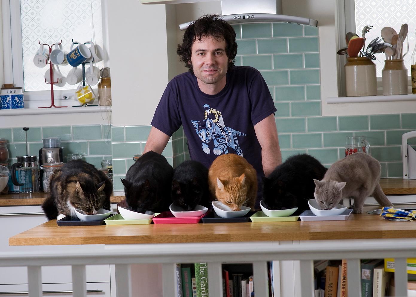hombre con gatos