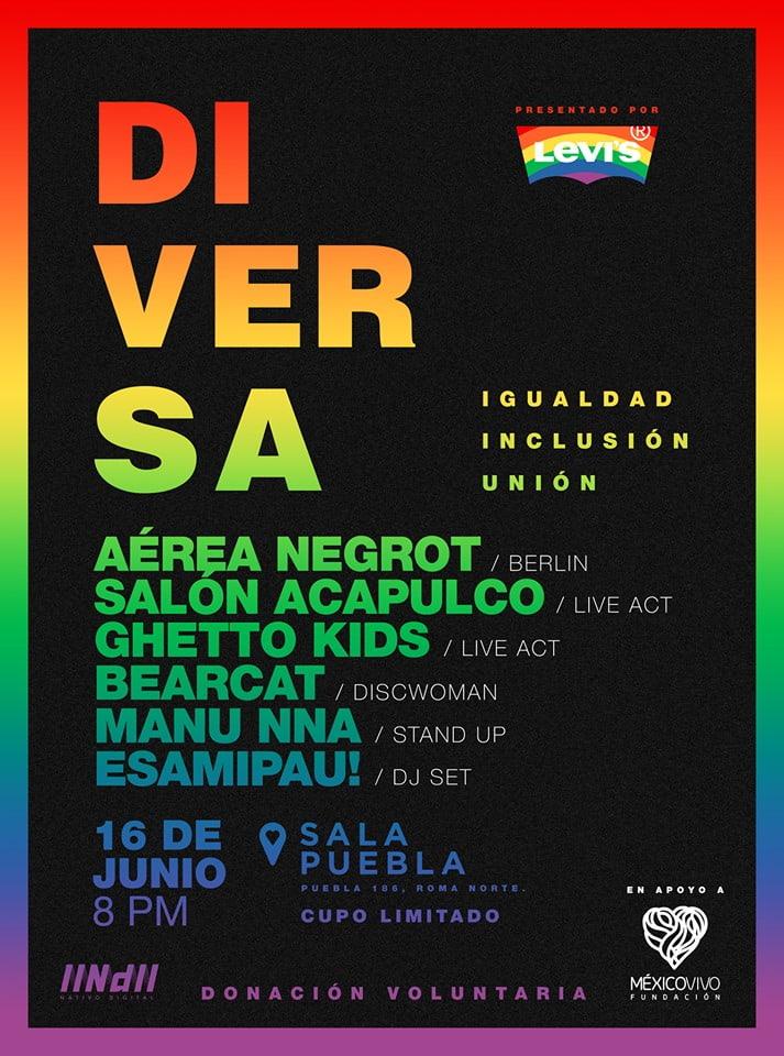diversa, festival por la inclusion y la cero discriminacion. fiesta lgbt
