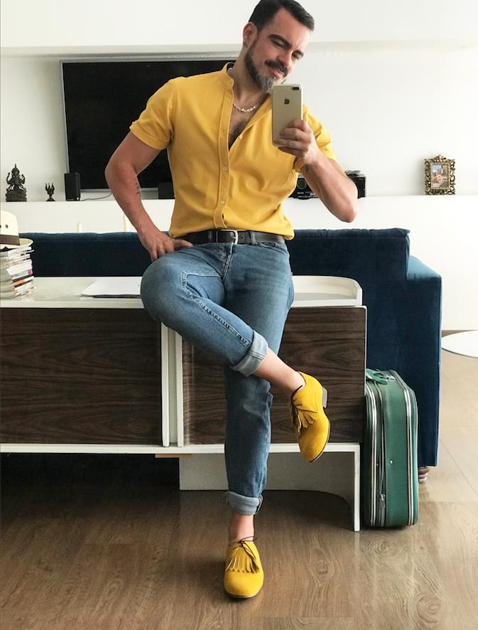 zapatos gamuza amarillo mostaza, salvador nunez